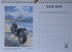 Louise Limb Motorcycle Art Calendar 2018 Month sample.
