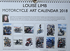 Louise Limb Motorcycle Art Calendar 2018 Back cover.