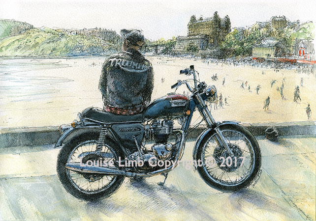 August,Triumph Bonneville T140E at Scarborough.