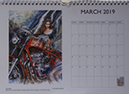 Louise Limb Motorcycle Art Calendar 2019 Month sample.