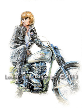 Rita and Royal Enfield. Avaiable as an A4 and A3 print.