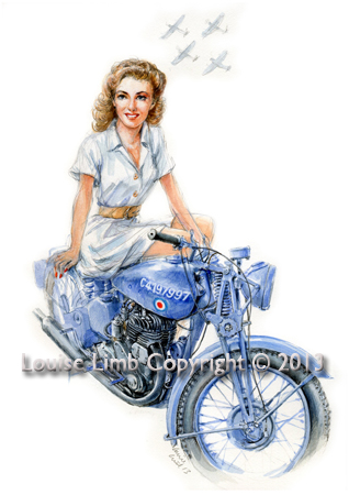 Vera and an RAF BSA M20. Avaiable as an A4 and A3 print.