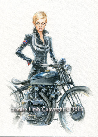 Twiggy and Vincent Black Lightning. Available as an A4 and A3 Print.