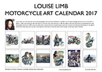 Louise Limb Motorcycle Art Calendar 2017 Back cover.