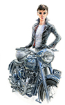 Audrey and Triumph Thunderbird 6T. Avaiable as an A4 and A3 print.