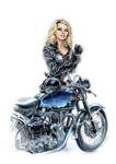 Debbie and a Velocette Venom Thruxton.