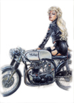 Pam and her Norton Cafe Racer.