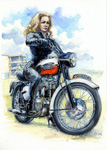 Honor with her Bonneville.