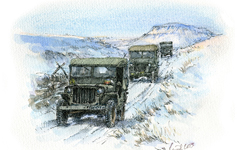 Willys Jeeps in snow.